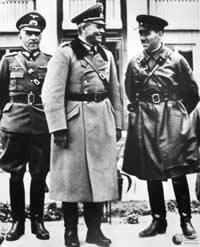 September 23, 1939 - the joint Soviet - German victory parade in the Polish city of Brest. After conclusion of the parade, the Soviet Red Army's Major General Semyon Krivoshein (right) congratulated his German counterpart, General Heinz Guerin (center) on successful completion of the joint invasion of Poland. Krivoshein also offered warm welcome to the Wehrmacht after its forthcoming victory over Great Britain.